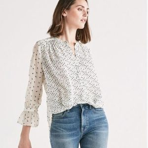 Lucky Brand Mix Print Navy Floral Sheer Blouse XL